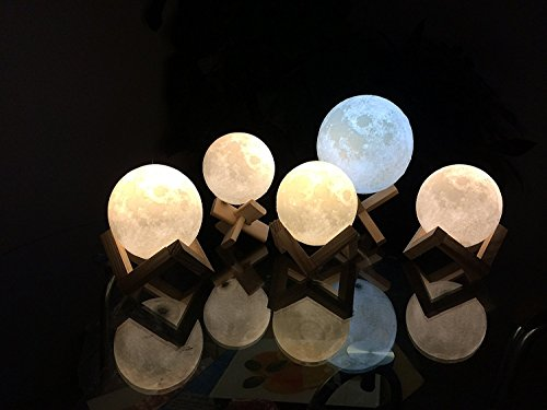 AIFONE Night Light PLDM 3D Printing Moon Lamp, Warm and Cool White Dimmable Touch Control Brightness with USB Charging,Home Decorative Lights by AIFONE (Image #2)