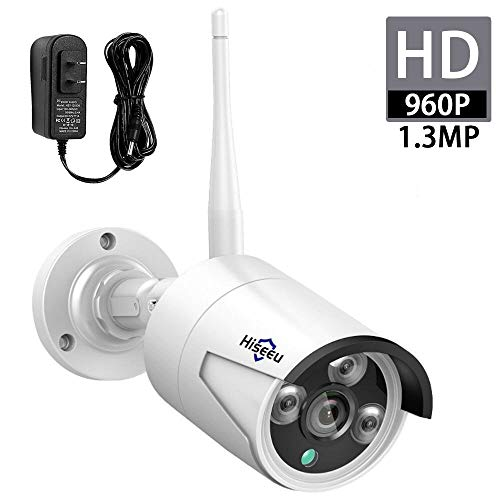 Hiseeu 1.3MP 960P Security Camera,Bullet Camera,Waterproof Outdoor Indoor 3.6mm Lens IP Cut Day&Night Vision with Power Adapter Compatible with Hiseeu 8ch Camera System(White)