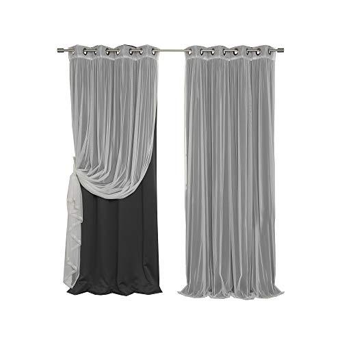 Best Home Fashion Mix & Match Tulle Sheer Lace & Blackout Curtain Set - Antique Bronze Grommet Top - Black - 52