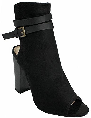 Kvinnor Mode Tvär Rem Faux Mocka / Denim Peep Toe Dragkedja Chunky Staplade Hälen Fotled Bootie Svart