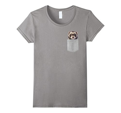 Womens Animal in Your Pocket Funny Cute ferret peeking out t shirt Medium Slate