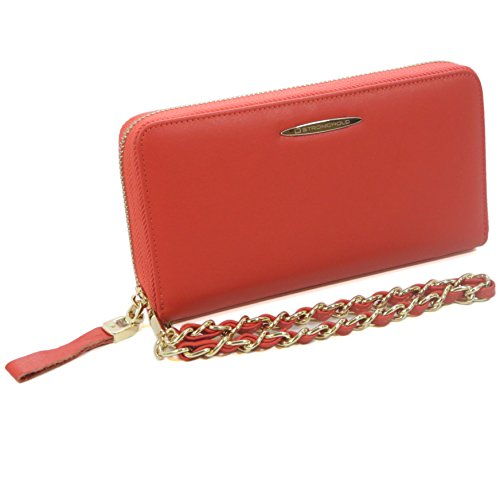 ID Stronghold Womens RFID Clutch Organizer with Zip Around and bonus matching mini wallet - Stunning Quality Leather - Red