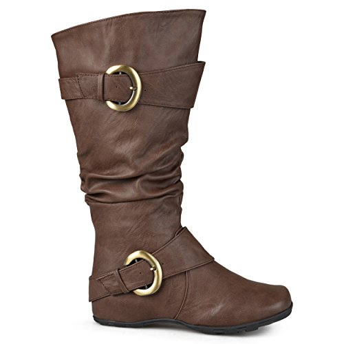 Brinley Co Womens Hilton Wc Slouch Boot  Brown Wide Calf  8 5 M Us