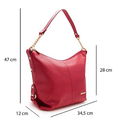 Zerimar Grande Auténtica De Mujer Mano 32x27x13 Bolsos Piel Siena Medidas Bolso Color Rojo Cuero Para qqfn1FC