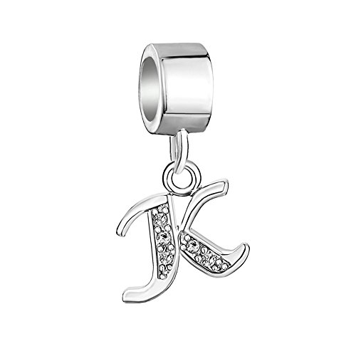 Additional Initial Charms (LovelyJewelry Sterling Silver Alphabet Beads A-Z Letter Initial Spacer Dangle Clear Crystal Charm For Snake Chain Bracelets (K))