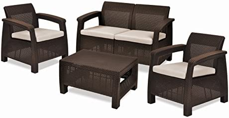 Keter Corfu 4 Piece Set All Weather Outdoor Patio Garden Furniture w/ Cushion