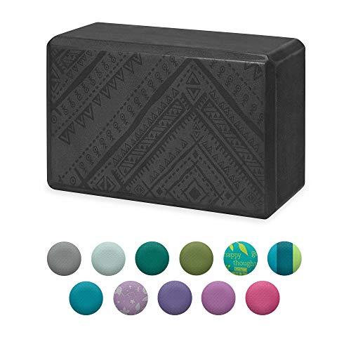Gaiam Yoga Block - Supportive Latex-Free EVA Foam Soft Non-Slip Surface for Yoga, Pilates, Meditation (Navajo Black)