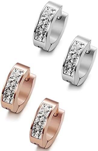 ORAZIO 18G Stainless Steel Hoop Earrings for Womens Mens Huggie Earrings Piercings