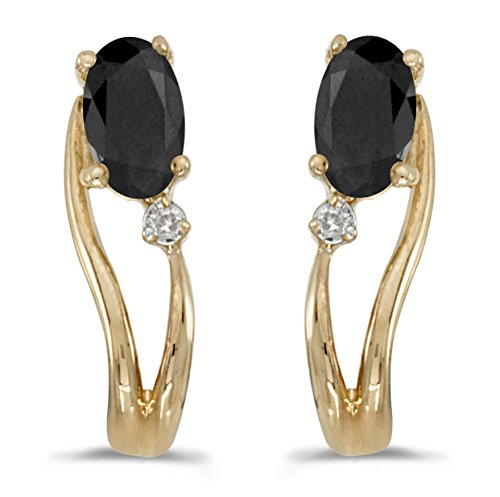 14k Yellow Gold Oval Onyx And Diamond Wave Earrings (0.30 cttw.)