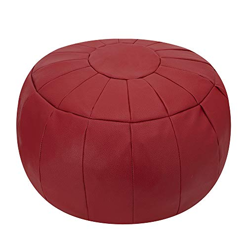 Rotot Decorative Pouf, Ottoman, Bean Bag Chair, Footstool, Foot Rest, Storage Solution or Wedding Gifts (Unstuffed) (red) (Chair Red With Ottoman)