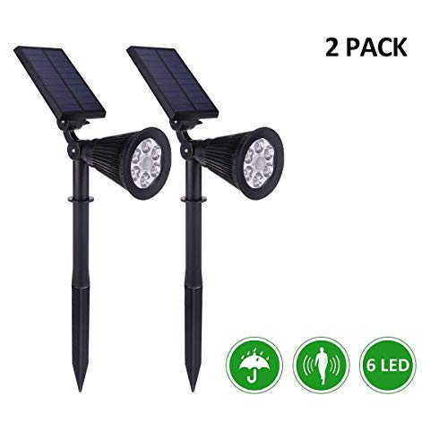 AICEDA 6 LED Motion Sensor Solar Lights,Waterproof Outdoor Landscape Lighting,Solar Spotlight Security Wall Light Floodlight Light Sensor Patio Deck Yard Garden Driveway Pool Area Pathway(2 Pack)