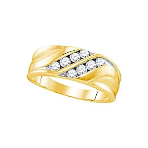 10kt Yellow Gold Mens Round Diamond Band Wedding Anniversary Ring 1/2 Cttw