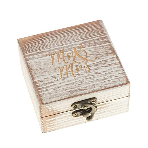 Ella Celebration Wood Ring Bearer Box Wedding Engagement Ring Holder Box Decorative Jewelry Box Favor Gift (Antique White)