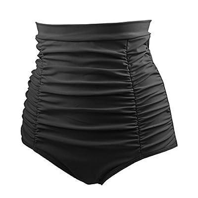 COCOSHIP Women's Retro High Waisted Bikini Bottom Ruched Swim Short Tankinis(FBA): Clothing
