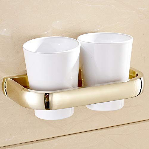 WLJ-YSYP Home Bathroom and Bathroom Essential Copper Gold Double Cup Holder Couple Toothbrush Cup Toothbrush Cup Holder Bathroom Mouth Cup Bathroom Hardware Pendant Waterproof and Moisture Proof