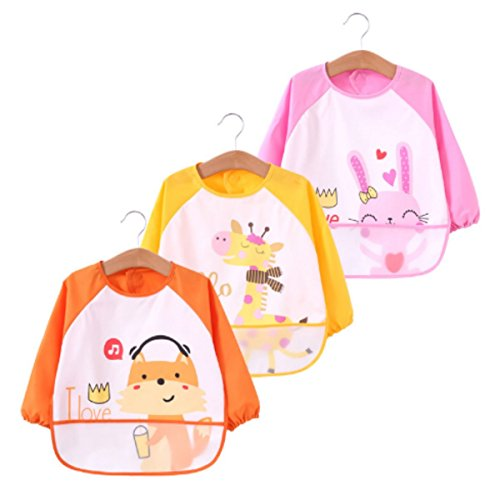 DGAGA Toddler Baby 3 pack Waterproof Sleeved Bibs Burp Cloth Sets with Pocket Pink Rabbit 6-23 Months ()
