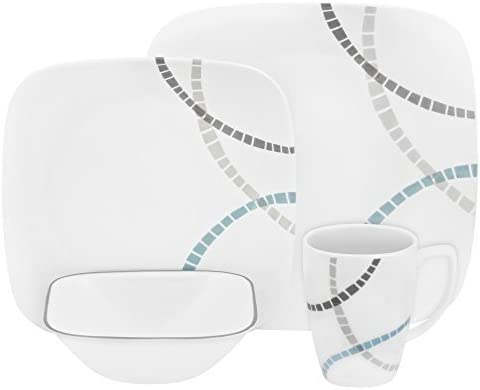 Grey /& Black 16piece Corelle Mosaic Red Chip /& Break Resistant 16pc Dinner Set