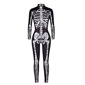 - 41ycamXYUAL - Pink Queen Womens Halloween Cosplay Skull Skeleton Print Costume One-Piece Catsuit Bodysuit