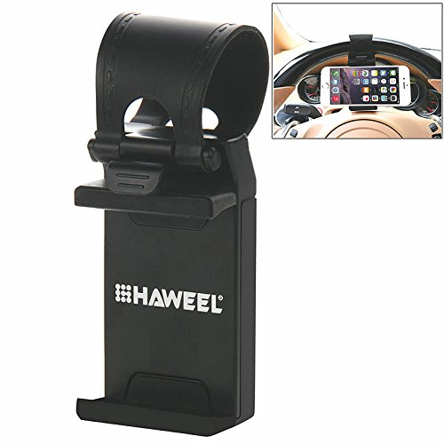Car Mount, HAWEEL Car Steering Wheel Mobile Phone Stand Holder Mount Clip Buckle Socket Hands Free for iPhone 7 / 7 Plus, iPhone 6 / 6s, Samsung and all 2.1-3.4 Inches Width Smartphone(Black)