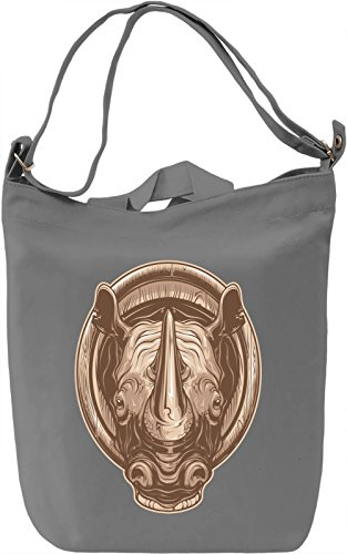 Rhino head Borsa Giornaliera Canvas Canvas Day Bag| 100% Premium Cotton Canvas| DTG Printing|