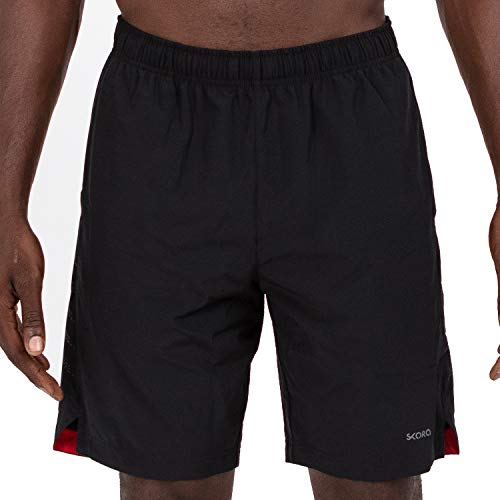 Skora Men's Two in One and Unlined Athletic Running Shorts with Pockets and Zip Back Pocket (Black/Red Medium)