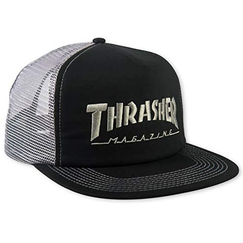 (Thrasher Magazine Logo Embroidered Black / Silver Mesh Trucker Hat - Adjustable)