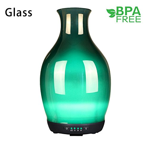 SUNPIN Essential Oil Diffuser 250ml Glass Ultrasonic Aromatherapy Oil Diffuser with 4 timer Setting Cool Mist Humidifier Waterless Auto Shut-off and 7 Color Changing LED Lights for Room Office Babies
