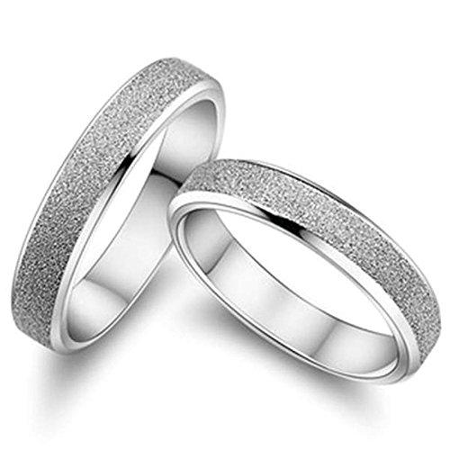 Pair Wedding Rings (Aokarry Men Wedding Band Rings Brush Polish Silver Rings 3mm/4mm (Price Unit: 1 PC))