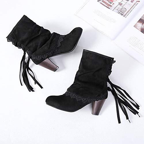 Altos Mujer Negra Botines con ALIKEEY Sexy Moda Botas Tacones Rosas Hebillas Mostaza Negro Casual Lace Zapatos Patchwork pqZxt5