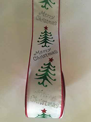 25-x-30-ft-white-with-green-tree-and-silver-glitter-merry-christmas-wired-edge-ribbon