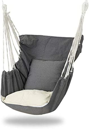 Kacsoo Hammock Chair with 2 Removable Seat Cushions Included, Max 300Lbs Hanging Rope Swing for Indoor Outdoor,Sturdy Cotton Weave Hammock Swing for Yard, Bedroom, Patio, Porch
