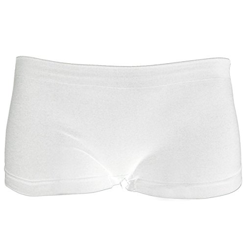 KMystic Women's Seamless Spandex Boyshort Hot Shorts (Large/XLarge, White)