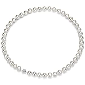 Sterling Silver 6-7mm White Freshwater Cultured Pearl Necklace 18 Inch AAA Quality