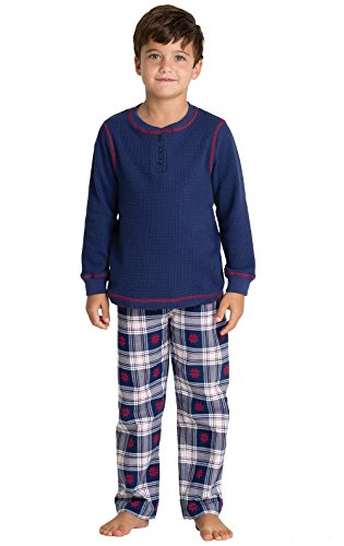 PajamaGram Classic Snowfall Plaid Flannel Long-Sleeve Pajamas, Blue, Big Boys' 8