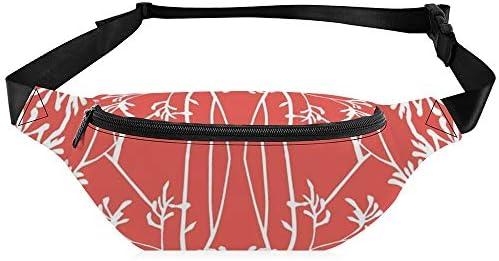 サンゴと白のカンガルーの足 ウエストバッグ ショルダーバッグチェストバッグ ヒップバッグ 多機能 防水 軽量 スポーツアウトドアクロスボディバッグユニセックスピクニック小旅行