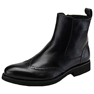 Amazon.com | Santimon Mens Dress Boots Brogue Wing Tip