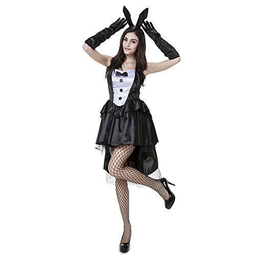 Pop Style Women's 3 Piece Tux and Tails Bunny Tuxedo Costume (XL)]()