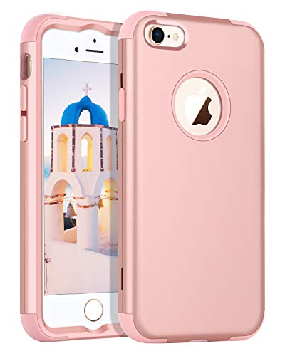 (YINLAI iPhone 8 Case, iPhone 8 Rose Gold Case Shockproof 3 in 1 Hybrid Heavy Duty Hard PC Cover Soft Silicone Rubber Bumper Full Body Protective Phone Cases for Girls Women 4.7 inch iPhone 8 Pink)
