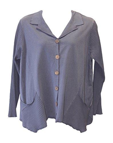 Fenini Women's Coal Cotton Shirt Jacket Plus Size (2X, Coal)
