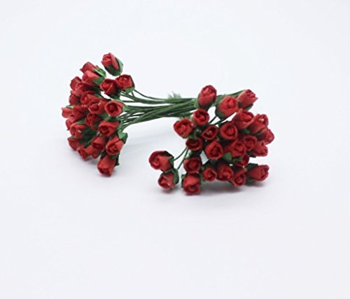 (ChangThai Design 50 Red Tiny Rose Scrapbooking Crafts 5mm Mulberry Paper Flower Card Wed Dollhous)