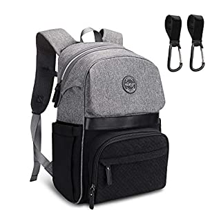 Diaper Bag Backpack, Sunup Baby Travel Nappy Back Pack, Single-hand Open Zipper (Gray-black)