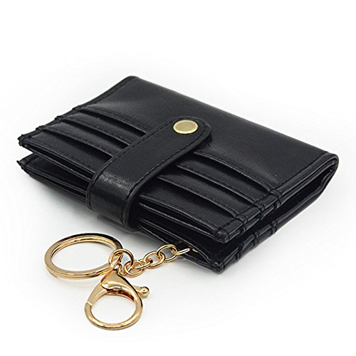 Lady Key Ring - Women's Rfid Card Holder Small Bifold Leather Ladies Mini Purse with Key Ring