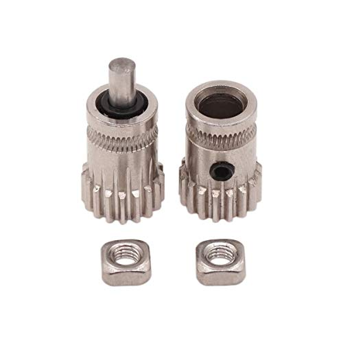 WINSINN Dual Gear for Btech Extruder Prusa i3 MK2 MK3 Drive Wheel for cr-10 cr-10s cr10s Ender 3 3D Printer 1.75mm Filament - Stainless Steel 5mm Bore 17 Tooth Modulus - Wheel Filament
