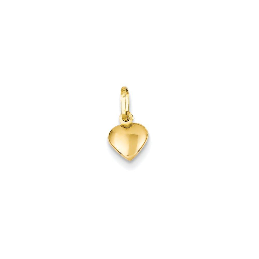 14k Yellow Gold Small Hollow Heart Charm (6 x 11 mm) QG YC1063