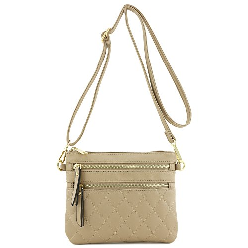 Taupe Multi Zipper Pocket Quilted Bag Crossbody wX6qB7d