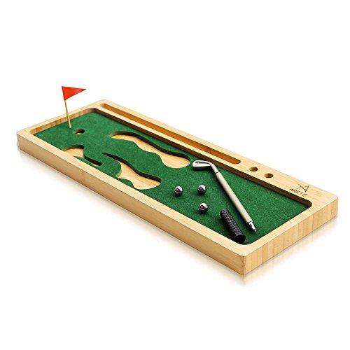 ARETE Golf Office Desk Organizer Bamboo, Phone Holder, Caddy Tray, Best Golf Gift
