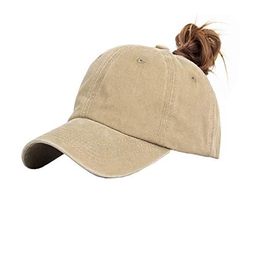(Eohak Ponytail Baseball Hat Distressed Retro Washed Cotton Twill (Khaki))