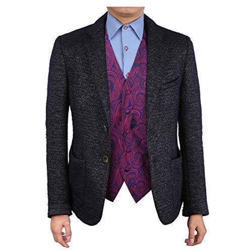 Epoint EGC1B01D-XL Purple Patterned Gift Idea for Dad Waistcoat Woven Microfiber Fashion and Jewelry X-Large Vest -