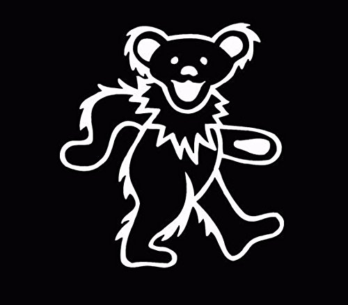 (Grateful Dead Bear Car Window Decal Truck Sticker White, Die Cut Vinyl Decal for Windows, Cars, Trucks, Tool Boxes, laptops, MacBook - virtually Any Hard, Smooth Surface )