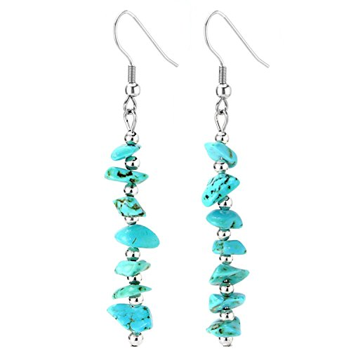 Long Turquoise Earrings (Birthday Stone Chip Crystal Gemstones Semi Precious Beaded Dangle Earrings, Long with Fish Hook, Hypoallergenic)